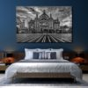 The modern bedroom interior design and blue wall texture backgro